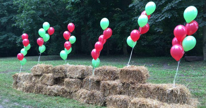 kiście z balonów z helem oznaczają miejsce imprezy