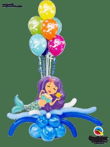 bukiet balonowy urodzinowy dla dziewczyki w temacie morskim syrenka