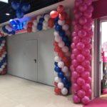 dekoracja balonowa brama z balonów na otwarcie sklepu Aldi w Galerii Stela w Cieszynie