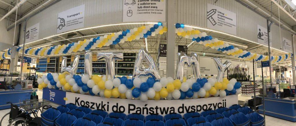 Dekoracja i balony z logo na otwarcie marketu Castorama w Rudzie Śląskiej