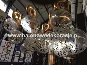 balony metrowe z helem z konfetti