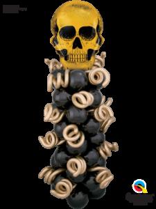 straszna-czaszka-zlota-kolumna-balonowa-czarno-zlota